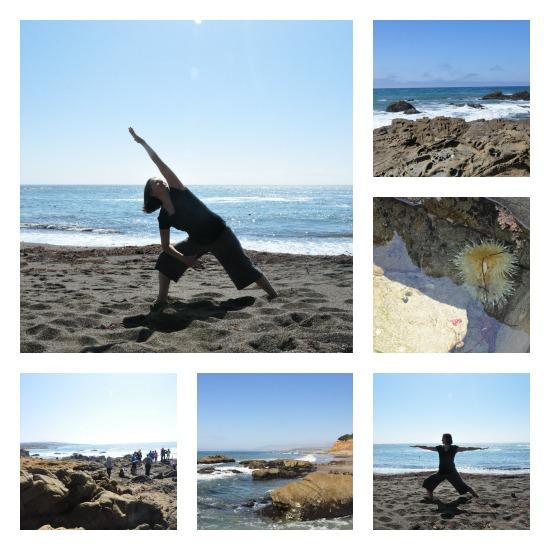 Yoga on the beach in Cambria