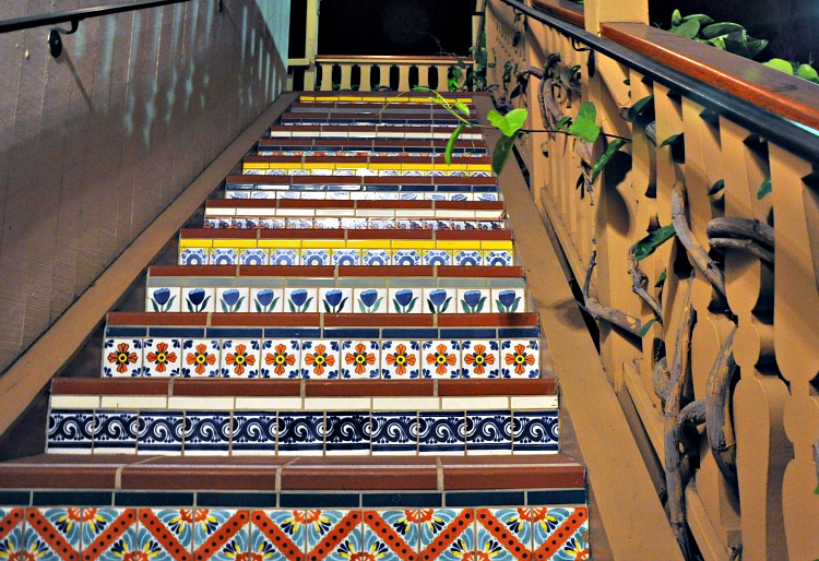 Mosaic stairs at the Best Western Peppertree Inn