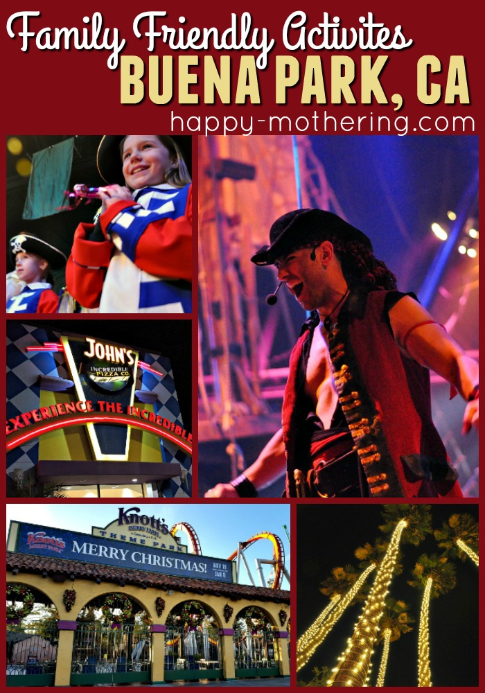 Collage of images from family entertainment venues in Buena Park, CA