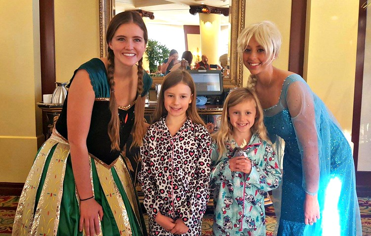 Elsa and Anna at the Four Seasons Westlake Village Character Breakfast
