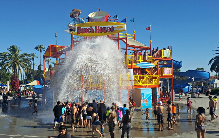 People being drenched with water at Knott's Soak City in Buena Park, CA
