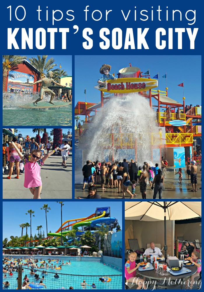 Collage of images from Knott's Soak City in Buena Park, CA