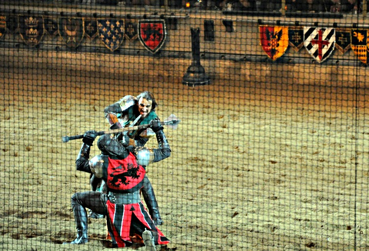 Battle during Medieval Time dinner show in Buena Park