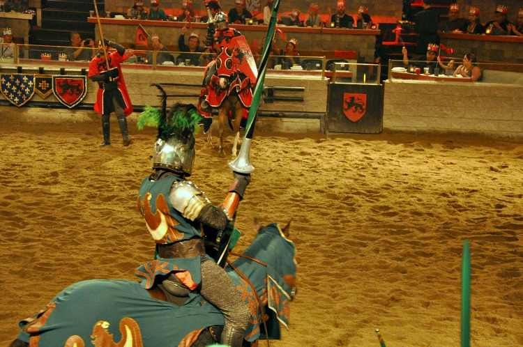 Jousting match at Medieval Times in Buena Park, CA