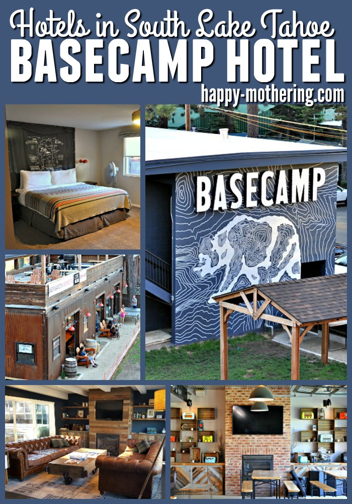 Collage of images of Basecamp Hotel in South Tahoe