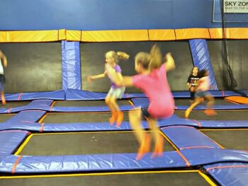 Girls free jumping at Sky Zone
