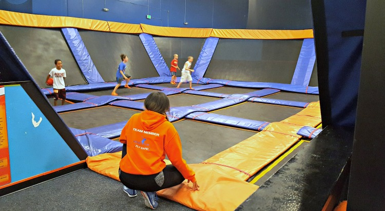 Dodgeball game at Sky Zone