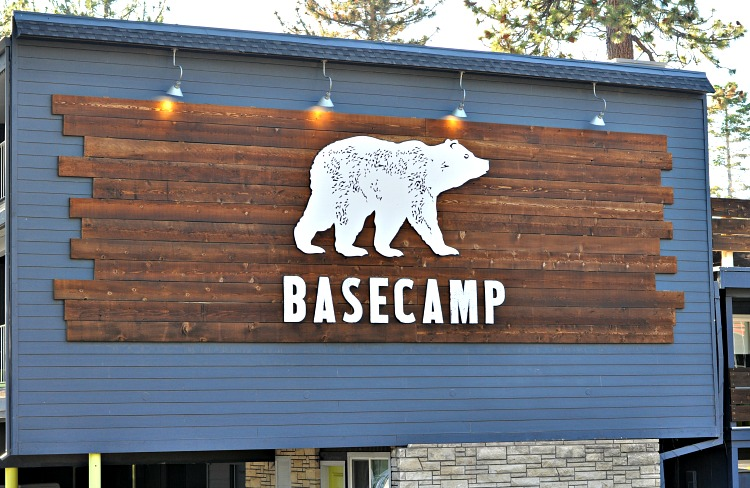 White bear and words Basecamp on a wood wall