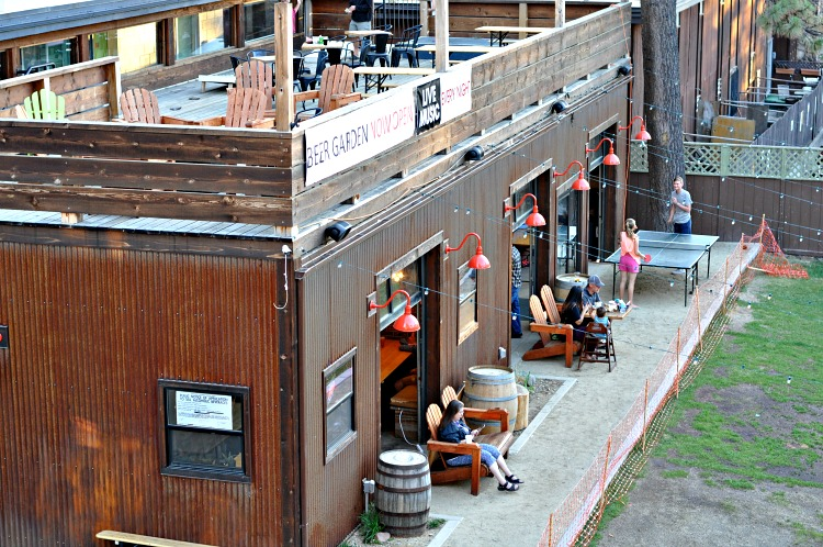 Outdoor beer garden at Basecamp Hotel in Tahoe South