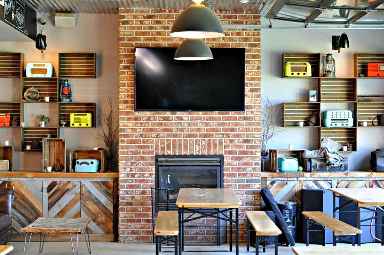Basecamp Hotel beer garden indoor seating area