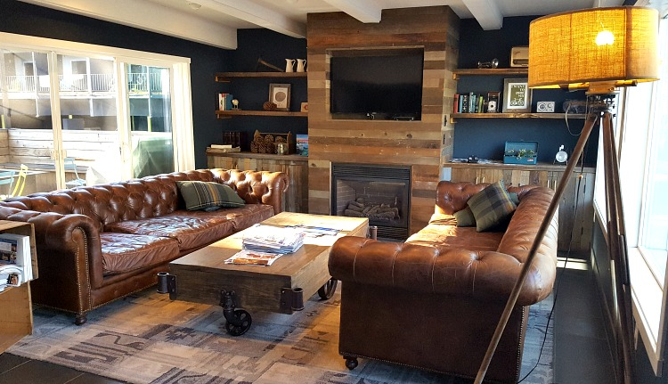 Rustic lobby inside Basecamp Hotel in Tahoe South