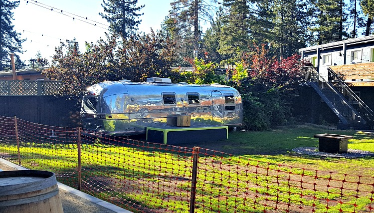 Basecamp Hotel Meeting area is an old airstream trailer