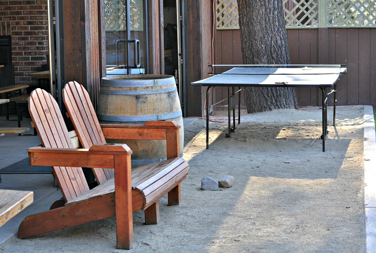 Ping pong table and lounge chairs at Basecamp Hotel in Tahoe South