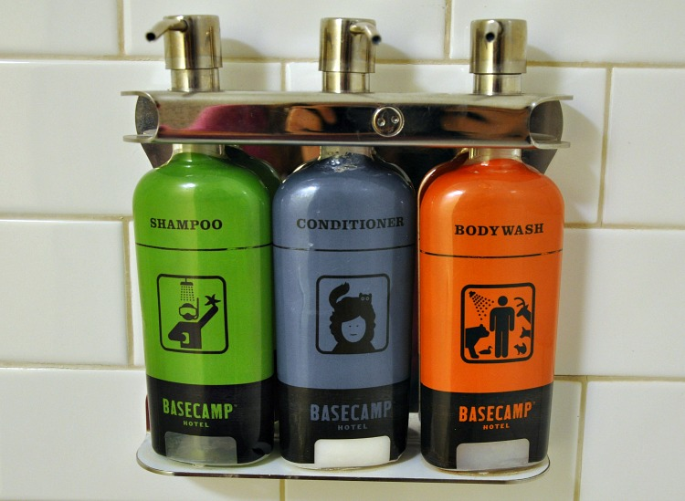 Bulk toiletries at Basecamp Hotel in Tahoe South