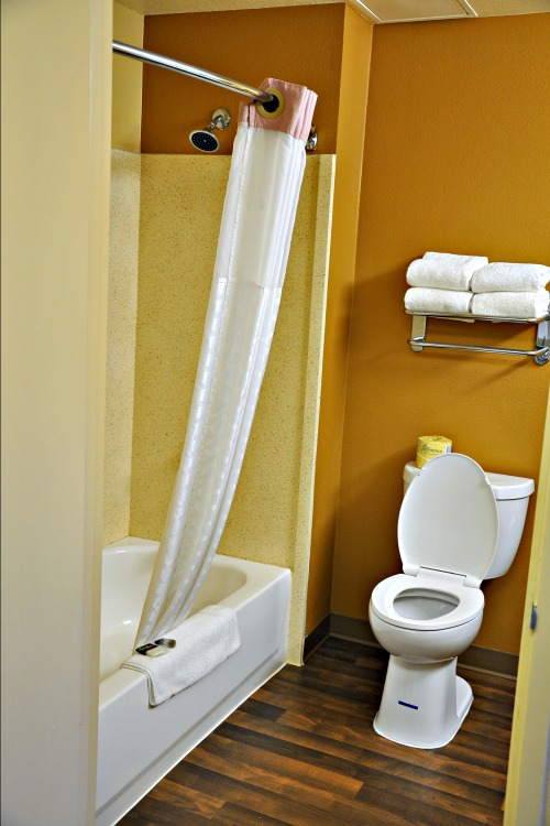 Shower and toilet in Extended Stay America hotel room