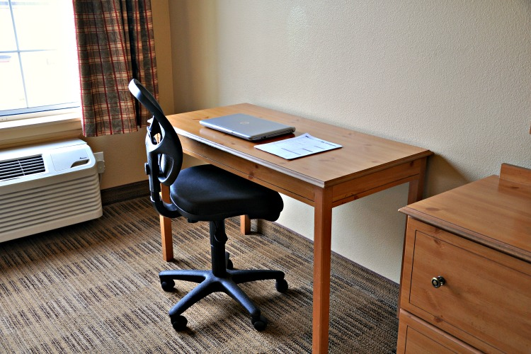 Simple desk in Extended Stay America hotel room in Cypress, CA