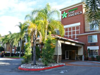 Exterior of Extended Stay America hotel in Cypress, CA