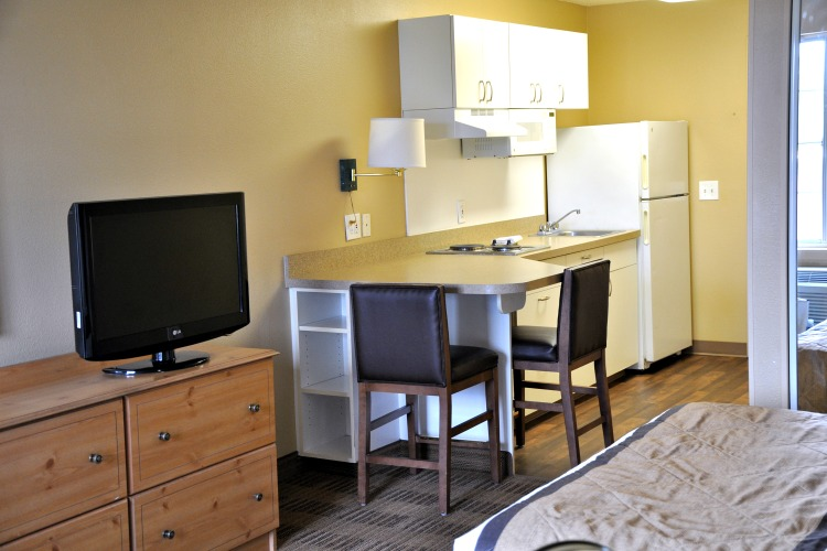 Full kitchen in my room at Extended Stay America in Cypress, CA