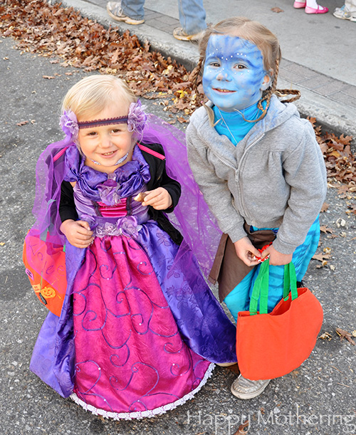 Zoe and Kaylee on Halloween in the Village