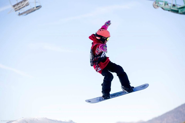 Zoe getting air at Slopestyle event