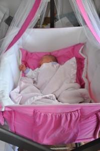 Kaylee's pink bassinet
