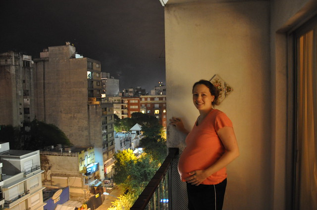 Chrystal pregnant during fireworks in Motevideo