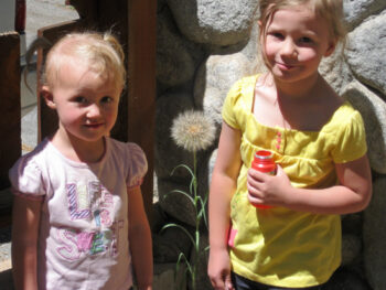 Zoe and Kaylee with a giant dandelion
