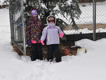 Zoë and Kaylee bundled up for the snow in 2012