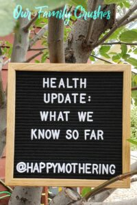"""Sign in tree reading """"health update"""""""
