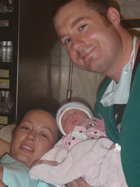 Brian, Chrystal and Kaylee after Kaylee was born