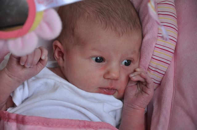 Baby Kaylee in her pink bouncy seat