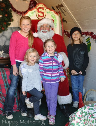 Zoë and Kaylee with their cousins visiting Santa