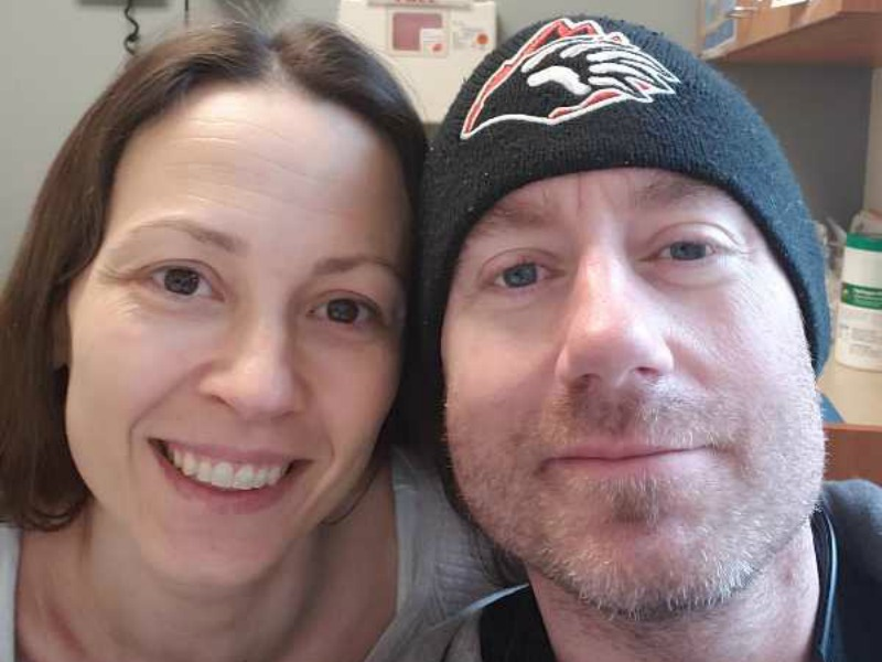 Close up of Brian and Chrystal at doctor on a Saturday