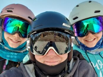 Brian, Zoë and Kaylee wearing helmets at Bear Mountain