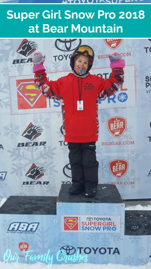 Zoe at Super Girl Snow Pro 2018 on podium