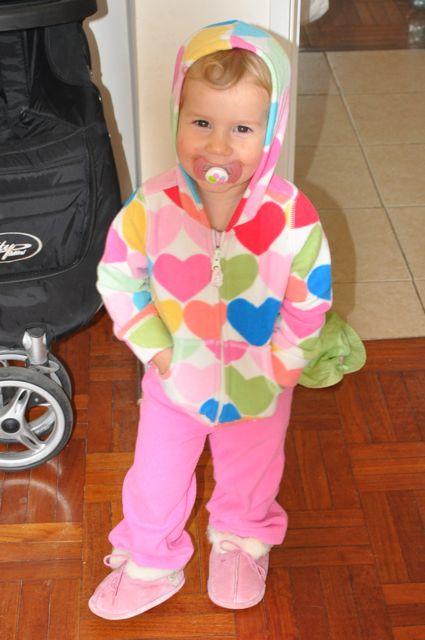 Zoe in sweats with her binkie
