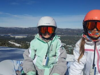 Zoe and Kaylee Johnson snowboarding at Bear Mountain in Big Bear Lake, CA