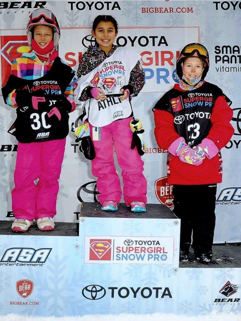 Zoë on podium at Super Girl Snow Pro
