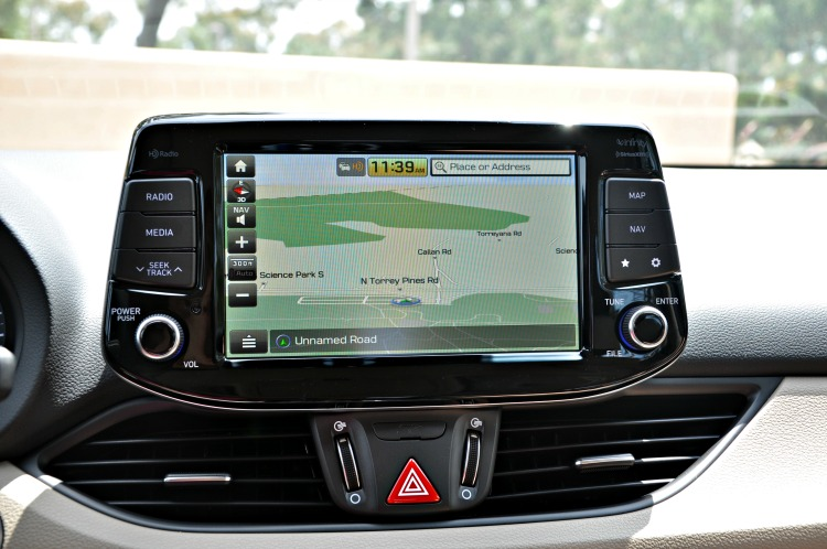 Navigation display in the Hyundai Elantra GT