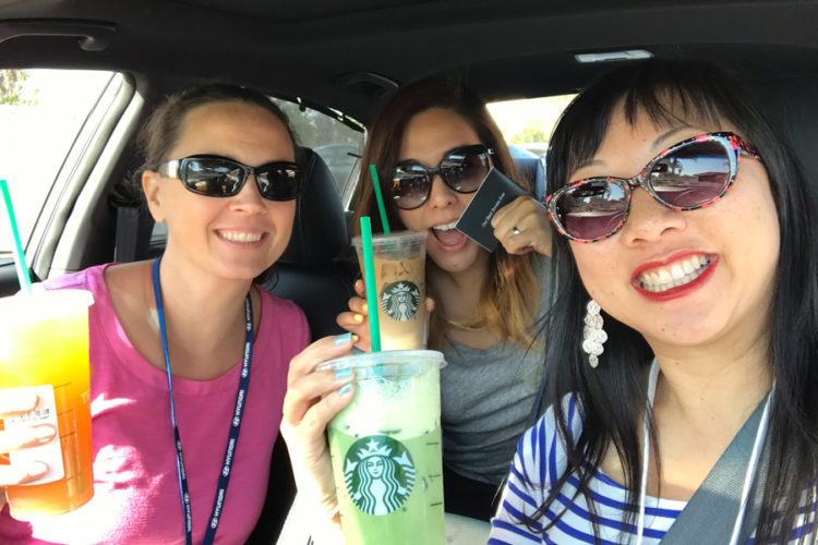 Enjoying our Starbucks drinks and paying it forward by paying for the next customer's order