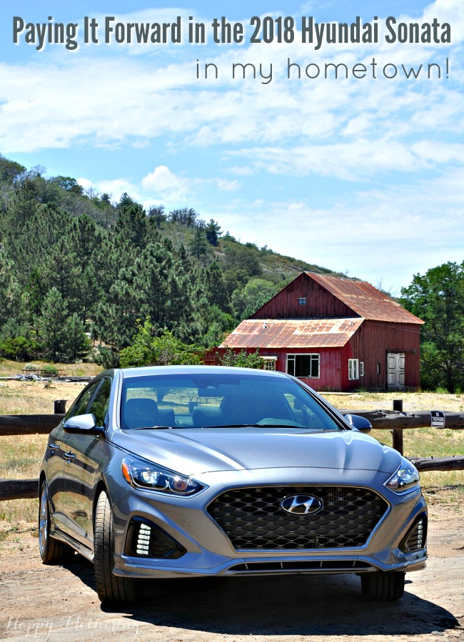 Hyundai Sonata parked in front of an old barn in Julian, CA