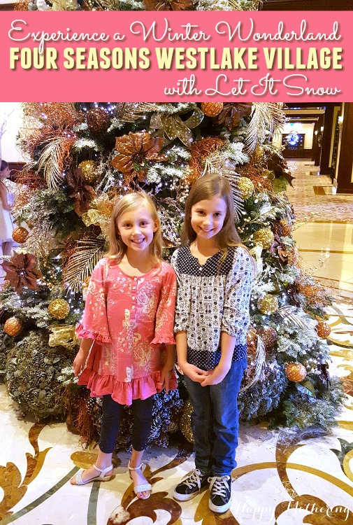 Zoë and Kaylee in front of the Christmas tree at the Four Seasons Westlake Village