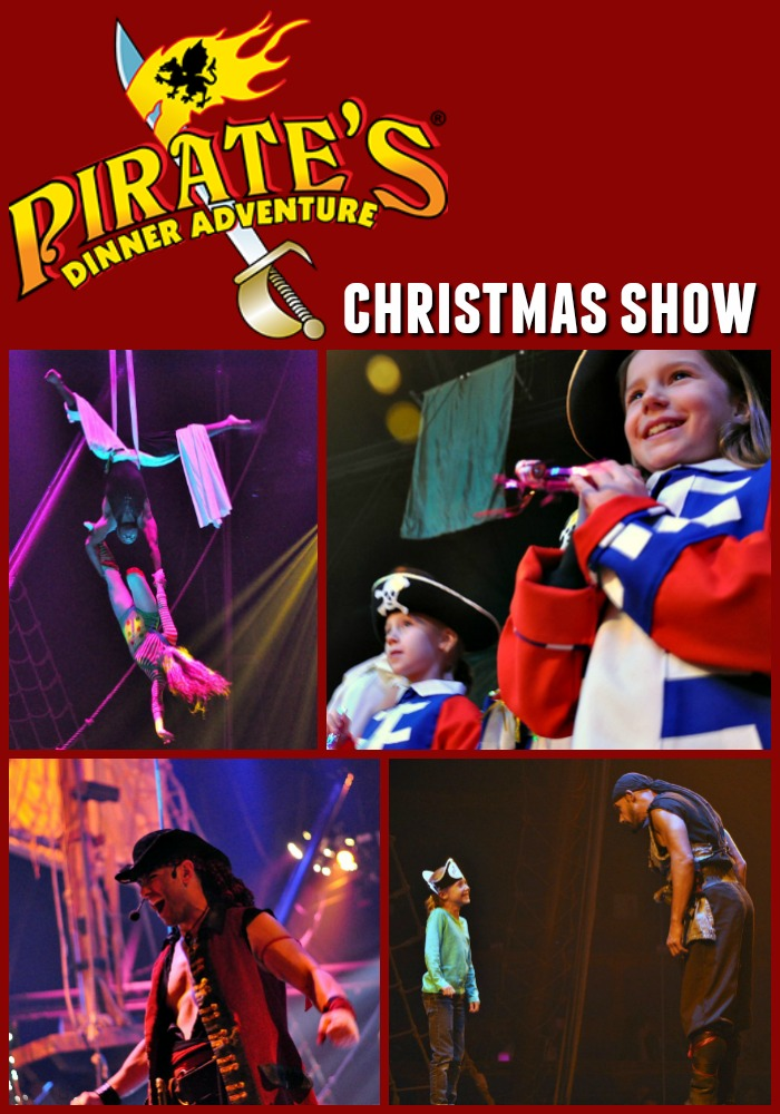 Collage of images from the Pirate's Dinner Adventure Christmas Show