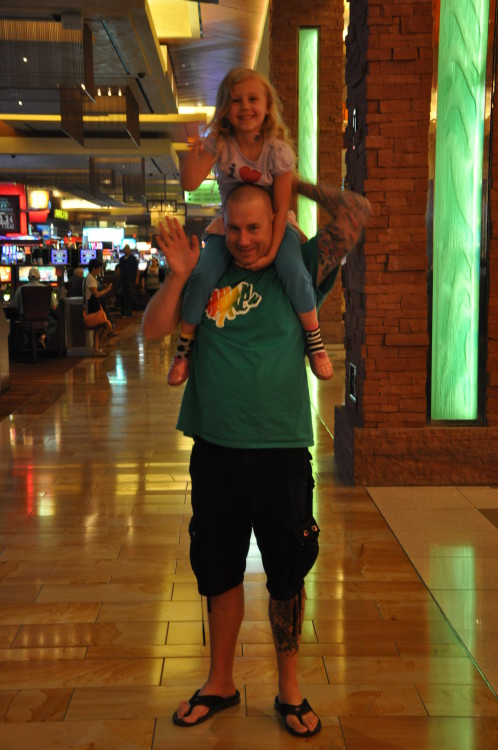 Brian giving Kaylee a shoulder ride at Red Rock Casino