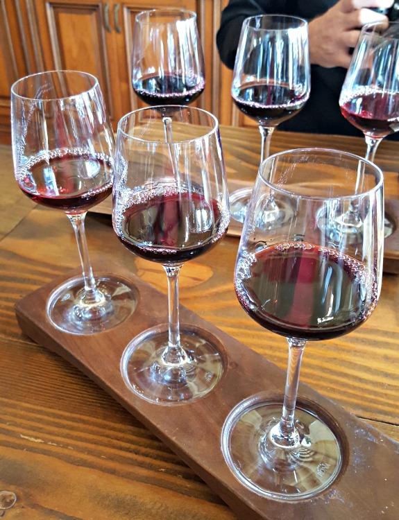 Wine flight during wine tasting in Carmel, CA