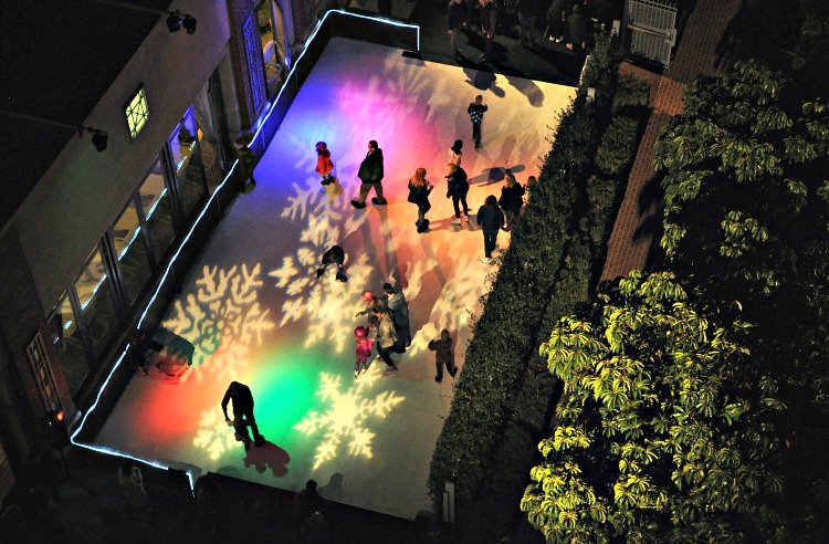 Overhead view of the skating rink at the Four Seasons Westlake Village Let It Snow Event