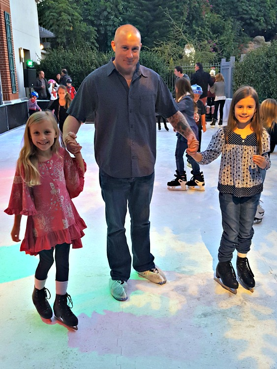 Brian, Zoë and Kaylee ice skating at the Four Seasons Westlake Village Let It Snow Event