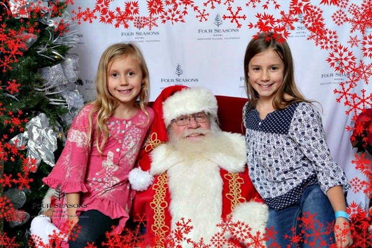 Zoë and Kaylee with Santa at the Four Seasons Westlake Village