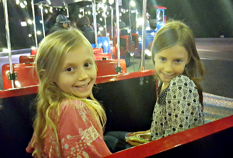 Zoë and Kaylee on the train at the Let It Snow event