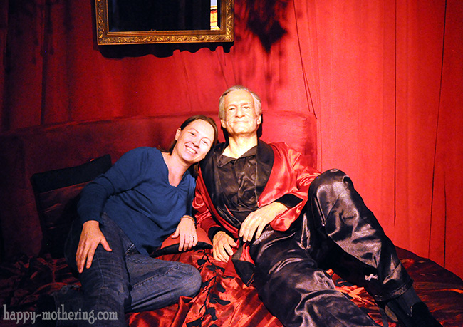 Chrystal with Hugh Hefner at the Hollywood Wax Museum